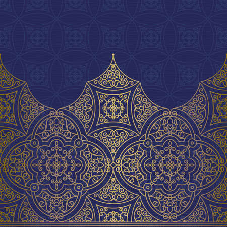 Vector ornate seamless border in Eastern style. Gorgeous element for design, place for text. Ornamental vintage pattern for wedding invitations and greeting cards. Traditional golden decor.