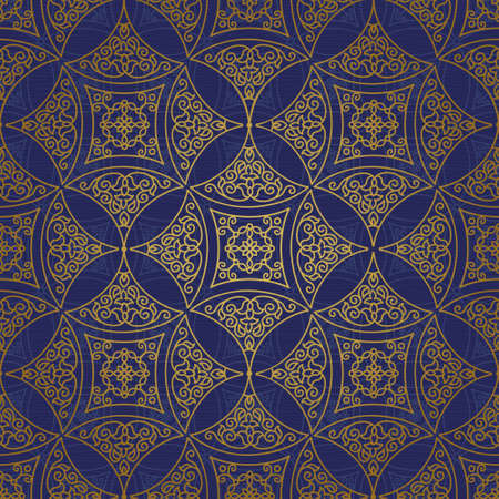 tile pattern: Vector seamless pattern with golden ornament. Vintage element for design in Eastern style. Ornamental lace tracery. Ornate floral decor for wallpaper. Endless texture. Bright pattern fill.
