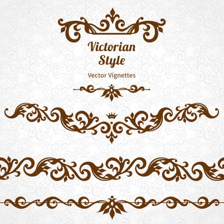 Vector set of ornate borders and vignettes in Victorian style. Gorgeous element for design, place for text. Ornamental vintage pattern for wedding invitations, birthday and greeting cards.Traditional contrast decor. Vectores
