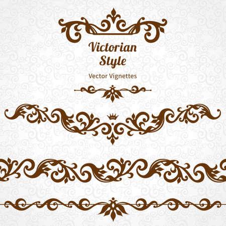 friso: Vector conjunto de las fronteras ornamentales y viñetas en el estilo victoriano. Elemento magnífico para el diseño, el lugar de texto. Vintage patrón ornamental para las invitaciones de boda, cumpleaños y decoración contraste cards.Traditional saludo. Vectores