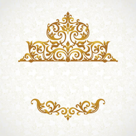 Vector lace pattern in Victorian style on scroll work background. Ornate element for design. Place for text. Ornament for wedding invitations, birthday and greeting cards. Golden decor. Illustration