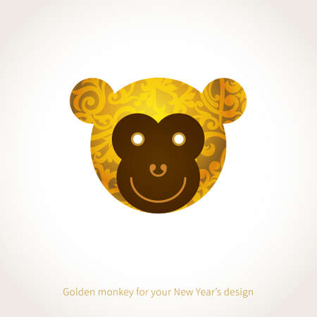 new designs: Symbol of 2016. Monkey head, decorated gold floral patterns. Vector element for New Years design. Illustration of 2016 year of the monkey.