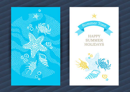 sea shells on beach: Bright Summer Holidays cards with sea elements. Sea pattern with seashells and starfish. Place for your text. Template frame design for banner, placard, invitation. Marine life vector background. Illustration
