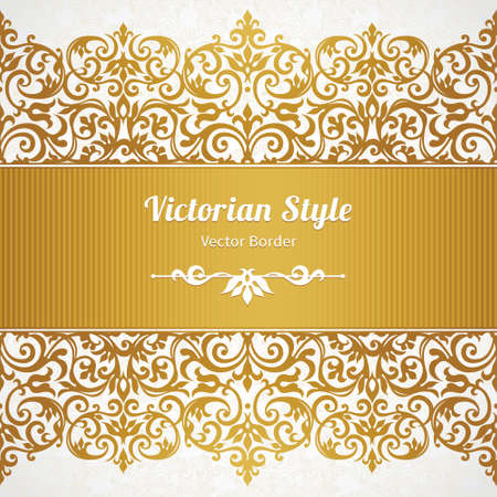 brocade: Vector ornate seamless border in Victorian style. Gorgeous element for design, place for text. Ornamental vintage pattern for wedding invitations, birthday and greeting cards.Traditional golden decor. Illustration