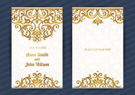 verschnörkelt: Lese aufwändiges Karten im orientalischen Stil. Goldene Eastern Blumen-Dekor. Vorlage Vintage-Rahmen für Geburtstag und Grußkarte, Hochzeitseinladung. Ornate vector Grenze. Einfach zu bedienen, überlagert.