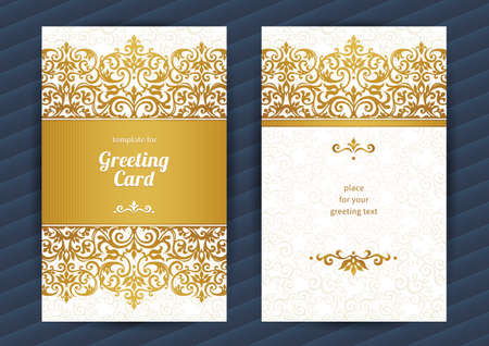 postcard background: Vintage ornate cards in oriental style. Golden Eastern floral decor. Template vintage frame for birthday and greeting card, wedding invitation. Ornate vector border. Easy to use, layered.