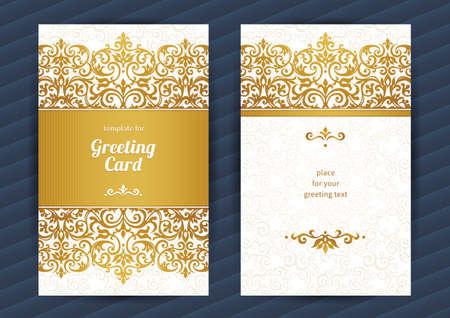 ślub: Vintage ozdobne karty w stylu orientalnym. Złoty Wschodnia dekoracje kwiatowe. Szablon archiwalne ramki do urodzin i karty okolicznościowe, zaproszenia weselne. Ozdobny granicy wektorowych. Łatwy w użyciu, warstwowa.