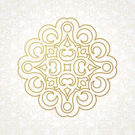 arabesco: Vector patrón de la vendimia en estilo oriental. Elemento para el diseño adornado arte de línea. Modelo ornamental para las invitaciones de boda, tarjetas de felicitación. La decoración de oro tradicional. Mandala.