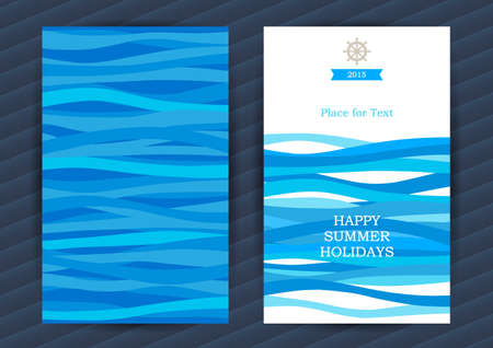at sea: Bright Summer Holidays cards with sea elements. Sea pattern with blue waves. Place for your text. Template frame design for banner, placard, invitation. Marine life vector background.