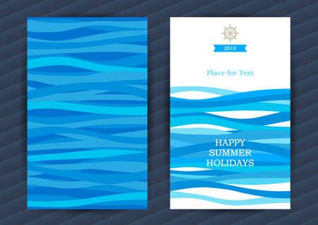 timon de barco: Brillantes Vacaciones de verano tarjetas con elementos marinos. Modelo del mar con olas azules. Lugar para el texto. Diseño del marco del modelo para la bandera, cartel, invitación. Marina de vectores de fondo la vida. Vectores
