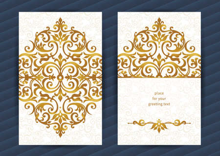 wedding frame: Vintage ornate cards in oriental style. Golden Eastern floral decor. Template vintage frame for birthday and greeting card, wedding invitation. Ornate vector border. Easy to use, layered.