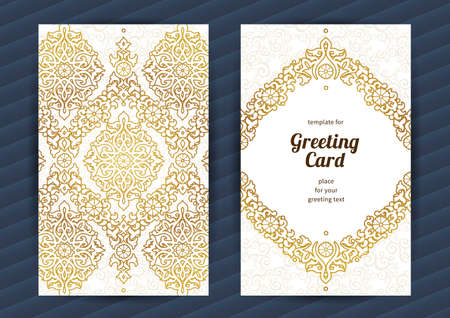 place card: Vintage ornate cards in oriental style. Golden Eastern floral decor. Template frame for birthday and greeting card, wedding invitation. Vector floral border, place for text. Easy to use, layered.