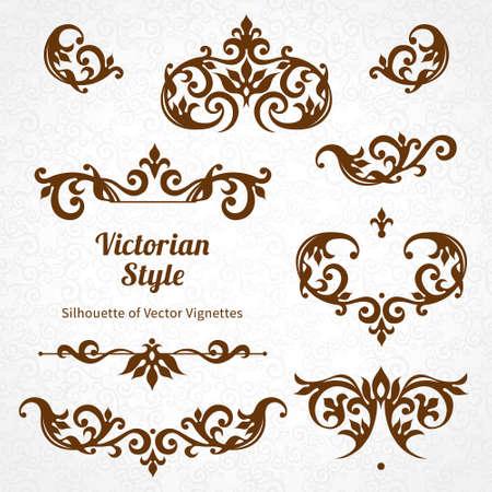 Conjunto de vectores de adornos de la vendimia en estilo victoriano. Adornado elemento para el diseño y el lugar de texto. Patrones de encaje decorativas para las invitaciones de boda y tarjetas de felicitación. Foto de archivo - 43920388