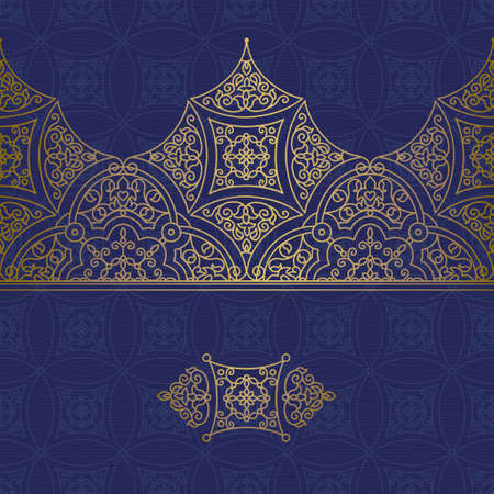 ornamental design: Vector ornate seamless border in Eastern style. Gorgeous element for design, place for text. Ornamental vintage pattern for wedding invitations and greeting cards. Traditional golden decor.