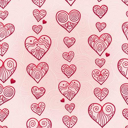 心を持つ高級シームレス パターン。ピンクの背景のライン アート インテリア。光のアウトラインの壁紙。ロマンチックなヴィンテージ背景。無限  イラスト・ベクター素材
