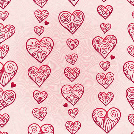 Fine seamless vector pattern with hearts. Line art decor on pink background. Light outline wallpaper. Romantic vintage background. Endless ornate texture. Bright pattern fill.