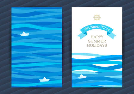 Bright Summer Holidays cards with sea elements. Sea pattern with paper boat and waves. Place for your text. Template frame design for banner, placard, invitation. Blue vector background. Vettoriali