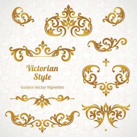 verschnörkelt: Vector Reihe von Vintage-Ornamente im viktorianischen Stil. Ornate Element für Design und Platz für Text. Zierlochmuster für Hochzeitseinladungen und Grußkarten.