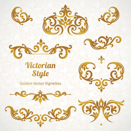 gold swirls: Vector set of vintage ornaments in Victorian style. Ornate element for design and place for text. Ornamental lace patterns for wedding invitations and greeting cards. Illustration
