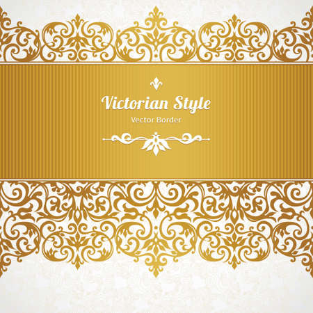 baroque ornament: Vector ornate seamless border in Victorian style. Gorgeous element for design, place for text. Ornamental vintage pattern for wedding invitations, birthday and greeting cards.Traditional golden decor. Illustration