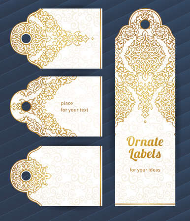 traditional pattern: Vintage ornate cards in oriental style. Golden Eastern floral decor. Template vintage frame for greeting card and wedding invitation. Ornate vector border and place for your text.