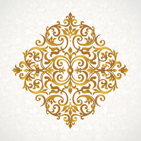 vector ornament: Vector vintage pattern in Victorian style. Ornate element for design. Ornament pattern for wedding invitations, birthday and greeting cards. Traditional golden decor. Mandala.