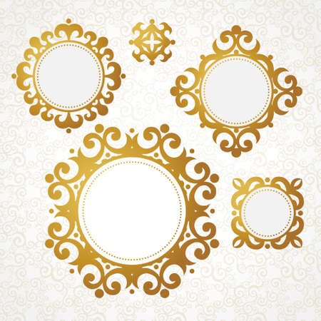 golden border: Set of vector decorative frames in Victorian style. Elegant element for design, place for text. Golden floral border. Lace decor for wedding invitations, valentines, birthday and greeting cards.