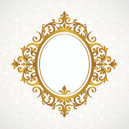 Vector decorative frame in Victorian style. Elegant element for design, place for text. Golden floral border. Lace decor for wedding invitations, valentines, birthday and greeting cards. Vettoriali