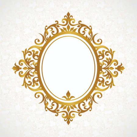 óvalo: Vector marco decorativo en estilo victoriano. Elemento para el diseño elegante, el lugar de texto. Frontera floral de oro. Decoración de encaje para las invitaciones de boda, San Valentín, cumpleaños y tarjetas de felicitación. Vectores