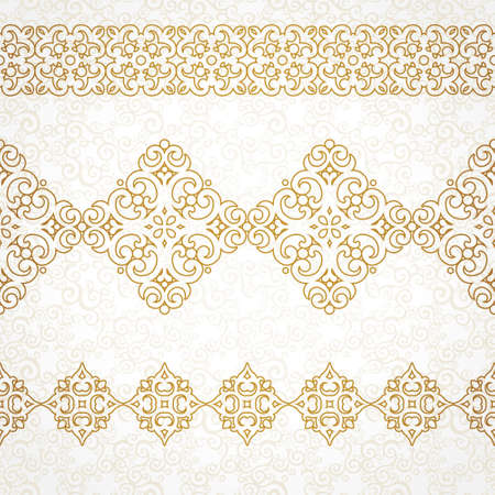 damask border: Vector ornate seamless border in Eastern style. Line art element for design, place for text. Ornamental vintage frame for wedding invitations and greeting cards. Golden pattern. Traditional outline decor.