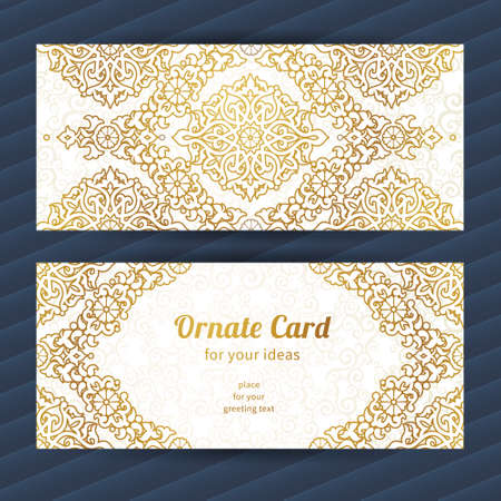 wedding decor: Vintage ornate cards in oriental style. Golden Eastern floral decor. Template romantic card for birthday and greeting, wedding invitation, valentines day. Ornate vector border and place for your text.