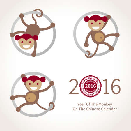 chinese script: Symbol of 2016. Beige smiling Monkey clinging to a circle. Vector element for New Years design in flat style. Illustration of 2016 year of the monkey in Chinese calendar.