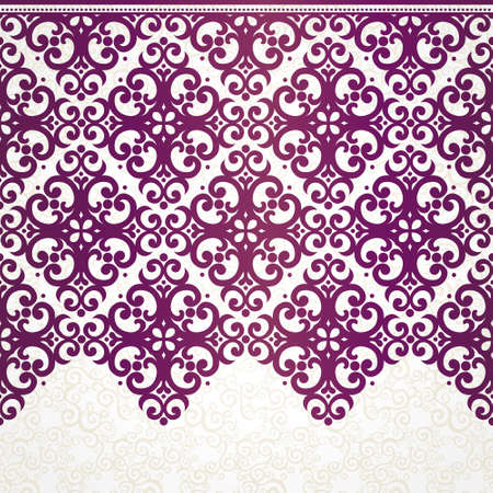 wedding border: Vector ornate seamless border in Eastern style. Ornate element for design, place for text. Ornamental vintage frame for wedding invitations and greeting cards. Traditional purple decor. Illustration