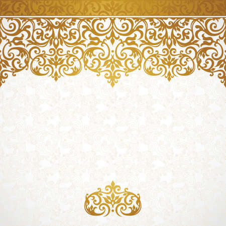 place for text: Vector ornate seamless border in Victorian style. Gorgeous element for design, place for text. Ornamental vintage pattern for wedding invitations, birthday and greeting cards.Traditional golden decor. Illustration