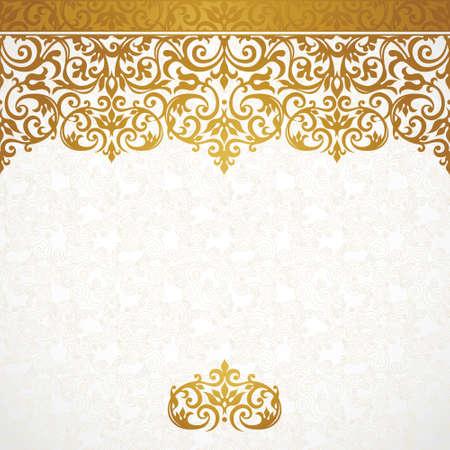 verschnörkelt: Vektor verzieren nahtlose Grenze im viktorianischen Stil. Herrliche Element für Design, Platz für Text. Ornamental vintage Muster für Hochzeitseinladungen, Geburtstag und grüßen cards.Traditional goldenem Dekor.