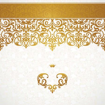 Vector sierlijke naadloze grens in Victoriaanse stijl. Prachtige element voor ontwerp, plaats voor tekst. Sier vintage patroon voor bruiloft uitnodigingen, verjaardag en groet cards.Traditional gouden decor. Stockfoto - 43920464