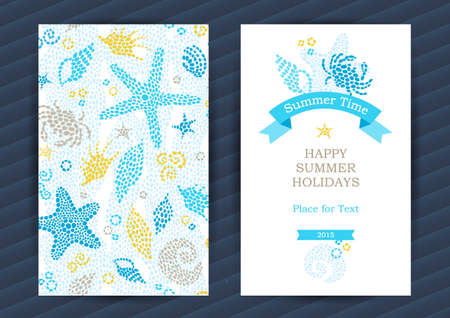 Bright Summer Holidays cards with sea elements. Sea pattern with seashells and starfish. Place for your text. Template frame design for banner, placard, invitation. Marine life vector background. Vettoriali