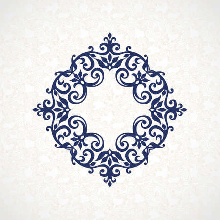 scroll tracery: Vector decorative frame in Victorian style. Elegant element for design, place for text. Blue floral border. Lace decor for wedding invitations, valentines and greeting cards. Illustration