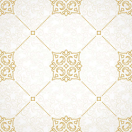 Vector seamless pattern with golden ornament. Vintage element for design in Victorian style. Ornamental lace tracery. Ornate floral decor for wallpaper. Endless texture. Light background.