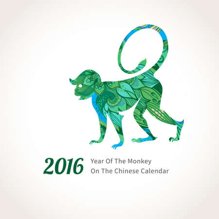head paper: Vector illustration of monkey, symbol of 2016 on the Chinese calendar. Silhouette of walking monkey, decorated with floral patterns. Vector element for New Years design. Image of 2016 year of Monkey.