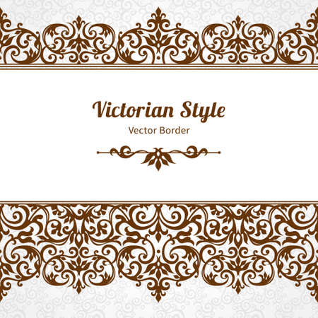 brocade: Vector ornate seamless border in Victorian style. Gorgeous element for design, place for text. Ornamental vintage pattern for wedding invitations, birthday and greeting cards.Traditional contrast decor.
