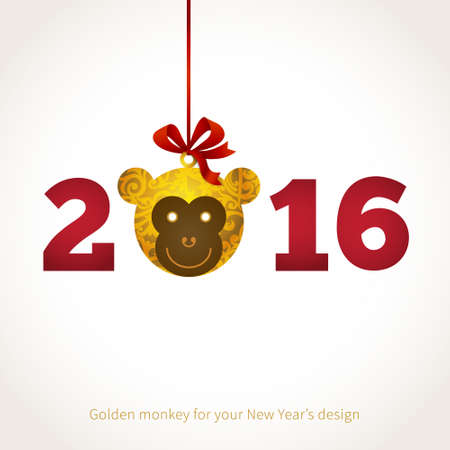chinese script: Symbol of 2016. Monkey head, decorated gold floral patterns. Vector element for New Years design. Illustration of 2016 year of the monkey.
