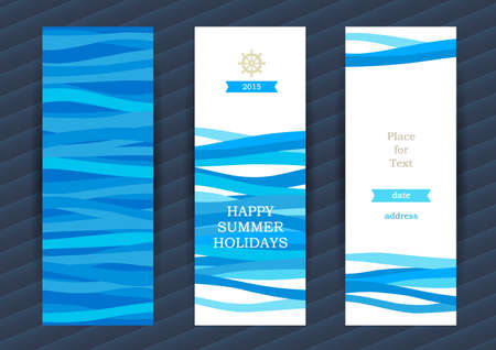 Bright Summer Holidays cards with sea elements. Sea pattern with waves. Place for your text. Template frame design for banner, placard, invitation. Blue vector background. Vettoriali