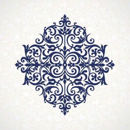 Vector vintage pattern in Victorian style. Ornate element for design. Ornament pattern for wedding invitations, greeting cards. Traditional blue decor. Mandala. Illustration