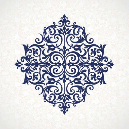 Vector vintage patroon in Victoriaanse stijl. Sierlijke element voor ontwerp. Ornament patroon voor bruiloft uitnodigingen, wenskaarten. Traditionele blauw decor. Mandala. Stock Illustratie