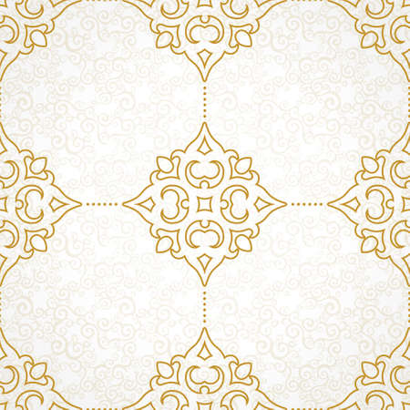 Vector seamless pattern with golden ornament. Vintage element for design in Victorian style. Ornamental lace tracery. Ornate floral decor for wallpaper. Endless texture. Light pattern fill.