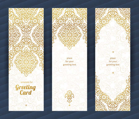 オリエンタル スタイルのヴィンテージの華やかなカード。黄金の東花装飾です。グリーティング カード、結婚式招待状のテンプレートのビンテージ