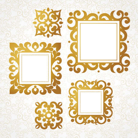 for text: Set of vector decorative frames in Victorian style. Elegant element for design, place for text. Golden floral border. Lace decor for wedding invitations, valentines, birthday and greeting cards.