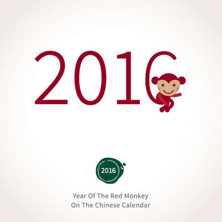 chinese new year element: Symbol of 2016. Red sitting Monkey. Vector element for New Years design in flat style. Illustration of 2016 year of the monkey in Chinese calendar.