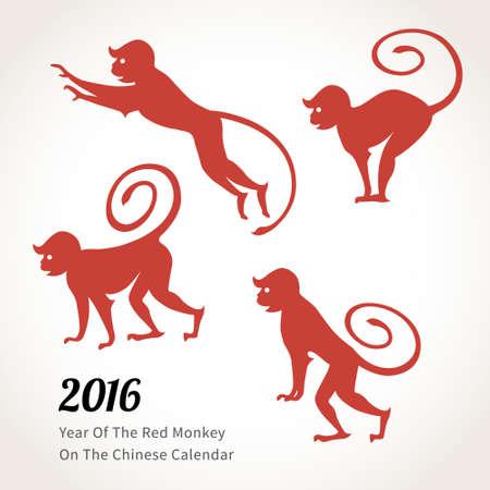 monos: Ilustraci�n del vector del mono, s�mbolo de 2016 en el calendario chino. Siluetas de los monos rojos. Elemento de vector para el dise�o de A�o Nuevo. Imagen de 2,016 a�os de Red Monkey.